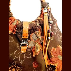 Ruby Roxanne Designs leather & wooden hobo purse